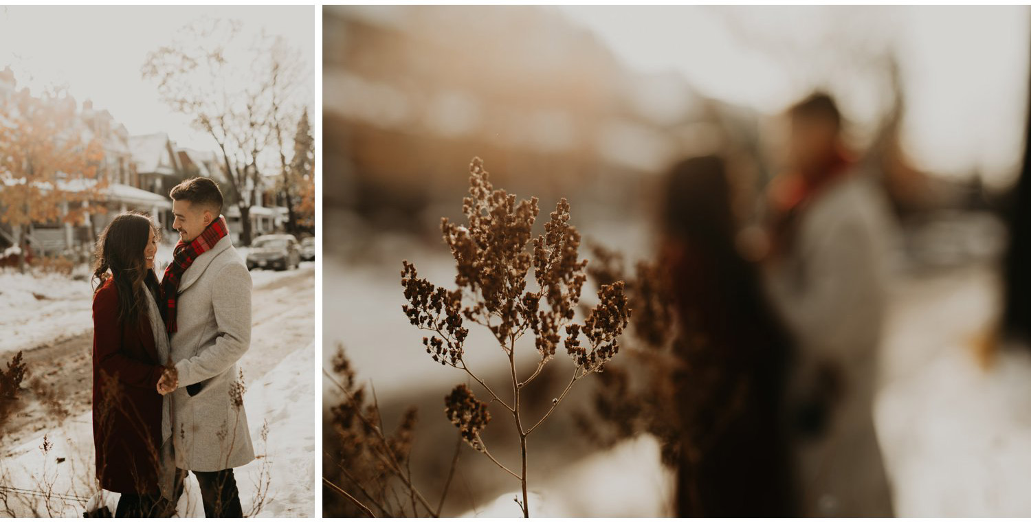 Winter Engagement in Toronto - creative winter engagement photos