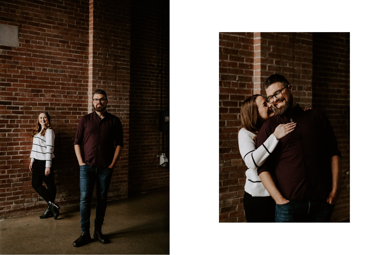 SteamWhistle Brewery Engagement - couple posing against brick wall