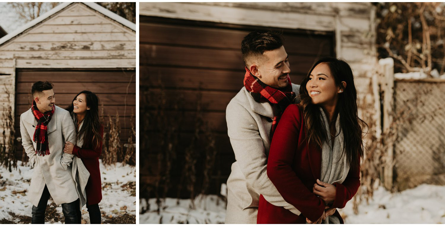 Winter Engagement in Toronto - couple embrace playfully outside in the cold