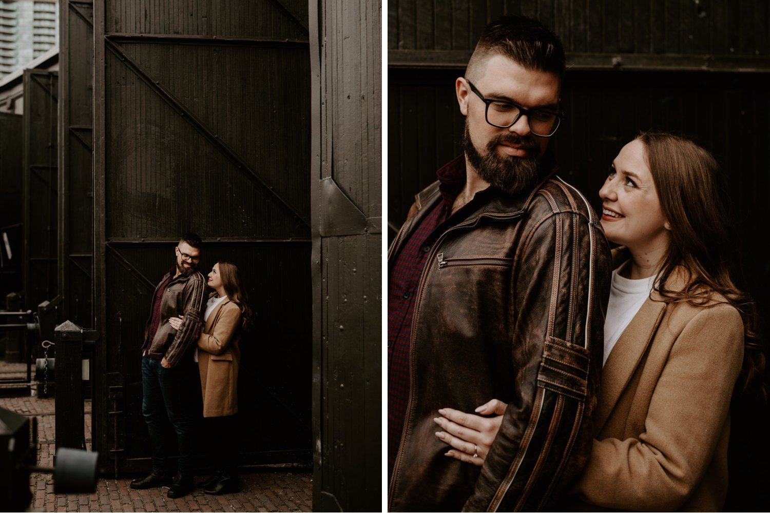 SteamWhistle Brewery Engagement - couple posed in front of brown barn door