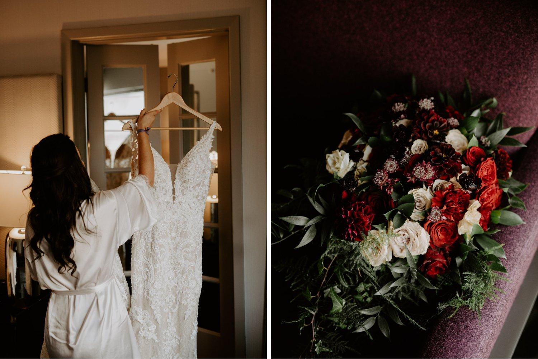 Liberty Village Wedding - bride's dress and bouquet