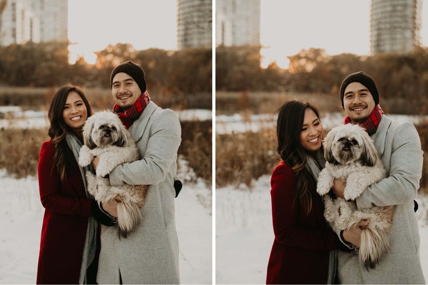 Winter Engagement in Toronto - outdoor couple's portrait with dog