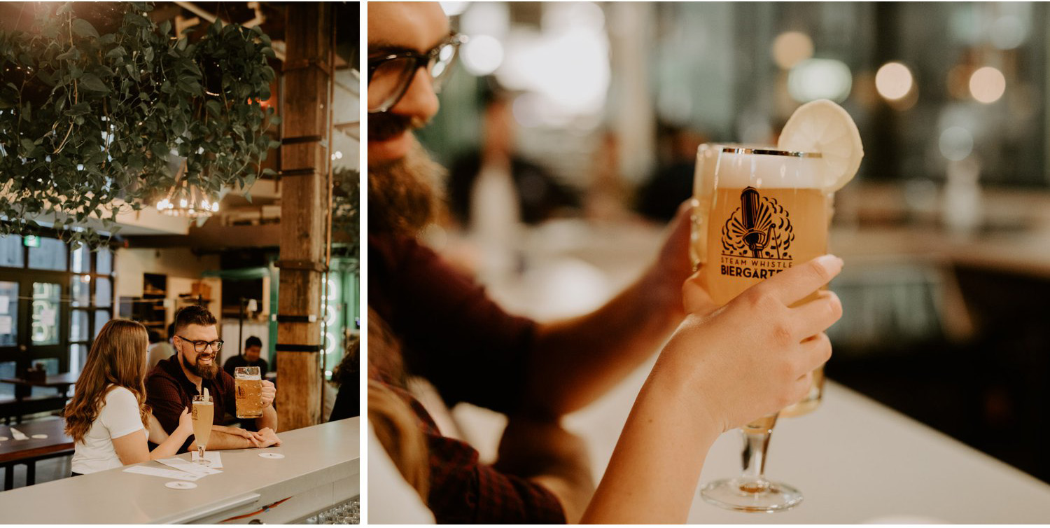 SteamWhistle Brewery Engagement - couple cheers in brewery