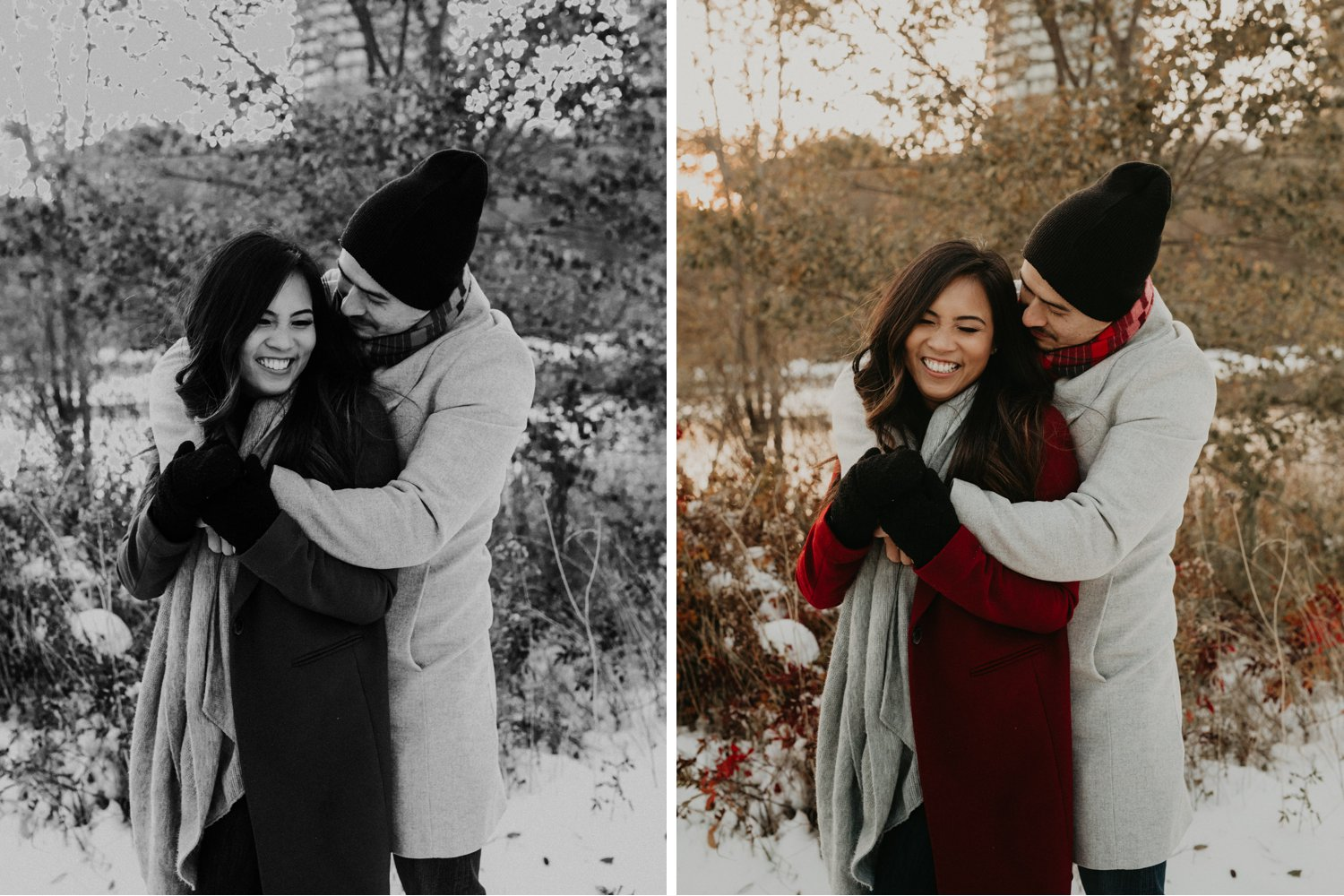Winter Engagement in Toronto - couple snuggle in snowy park