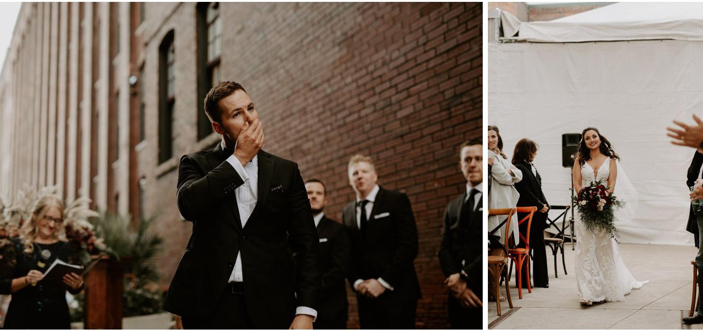 Liberty Village Wedding - groom's reaction to bride