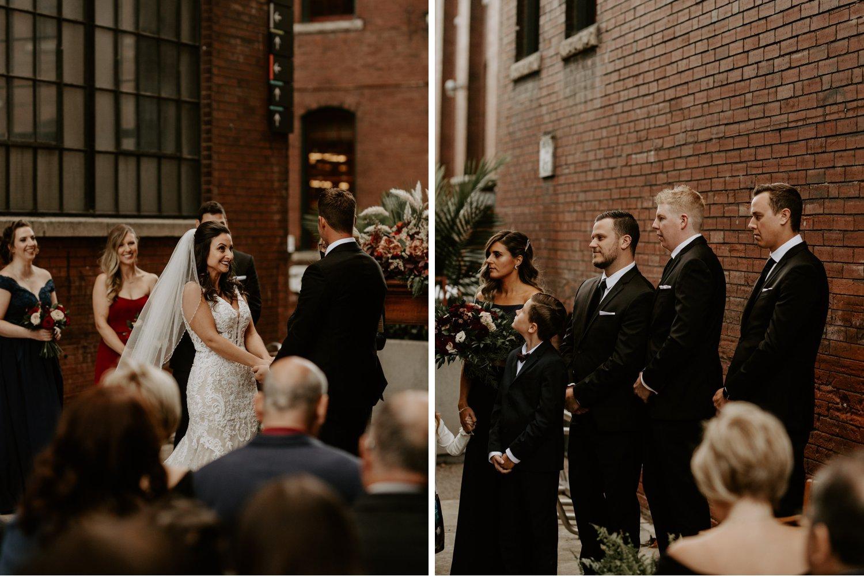 Liberty Village Wedding - wedding part at the alter