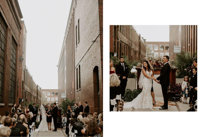 Liberty Village Wedding - bride smiling during ceremony