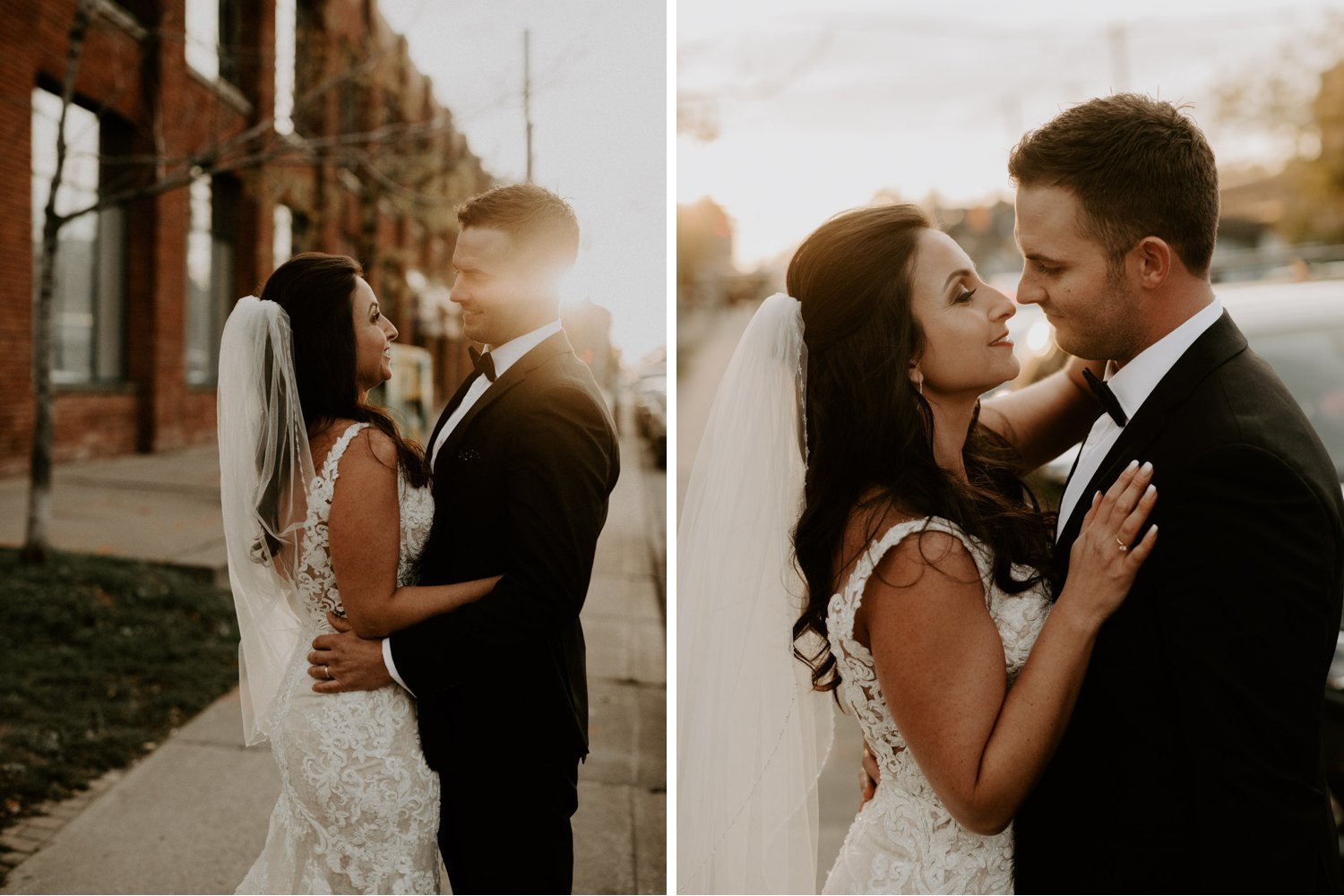 Caffino wedding - bride and groom embrace at sunset