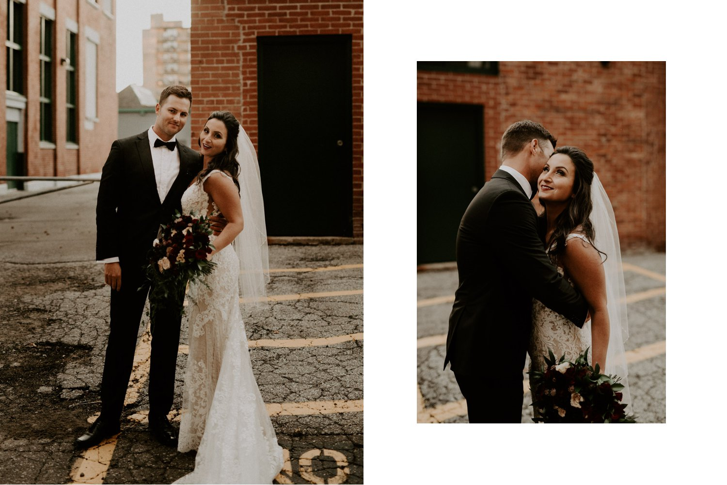 Liberty Village Wedding - bride and groom embrace in the alleyway