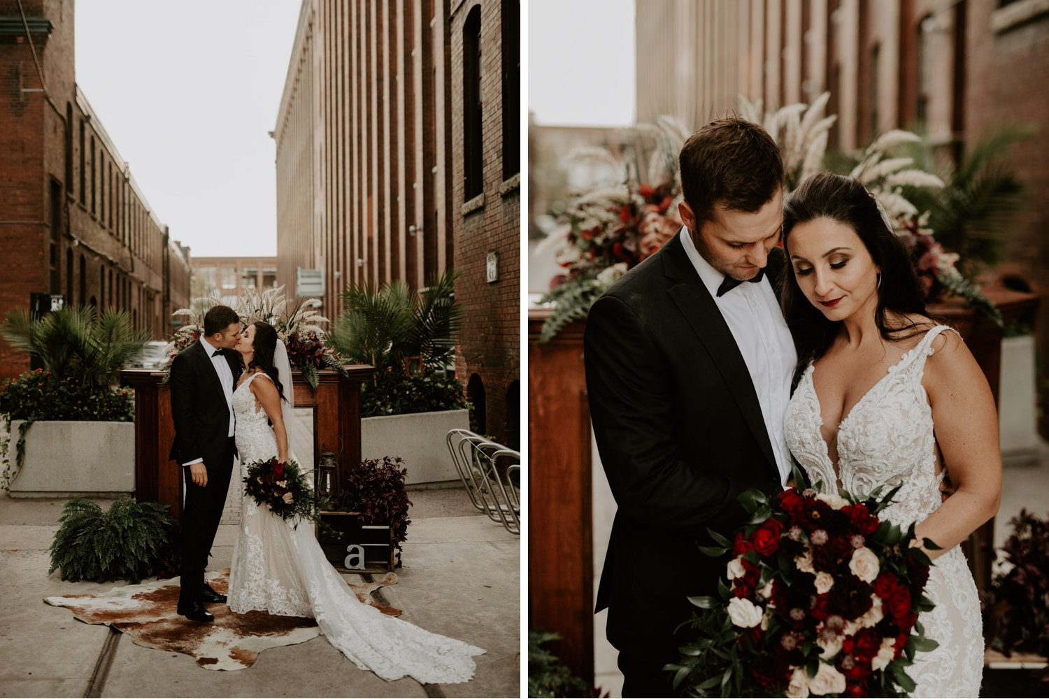 Liberty Village Wedding - bride and groom portraits at outdoor alter