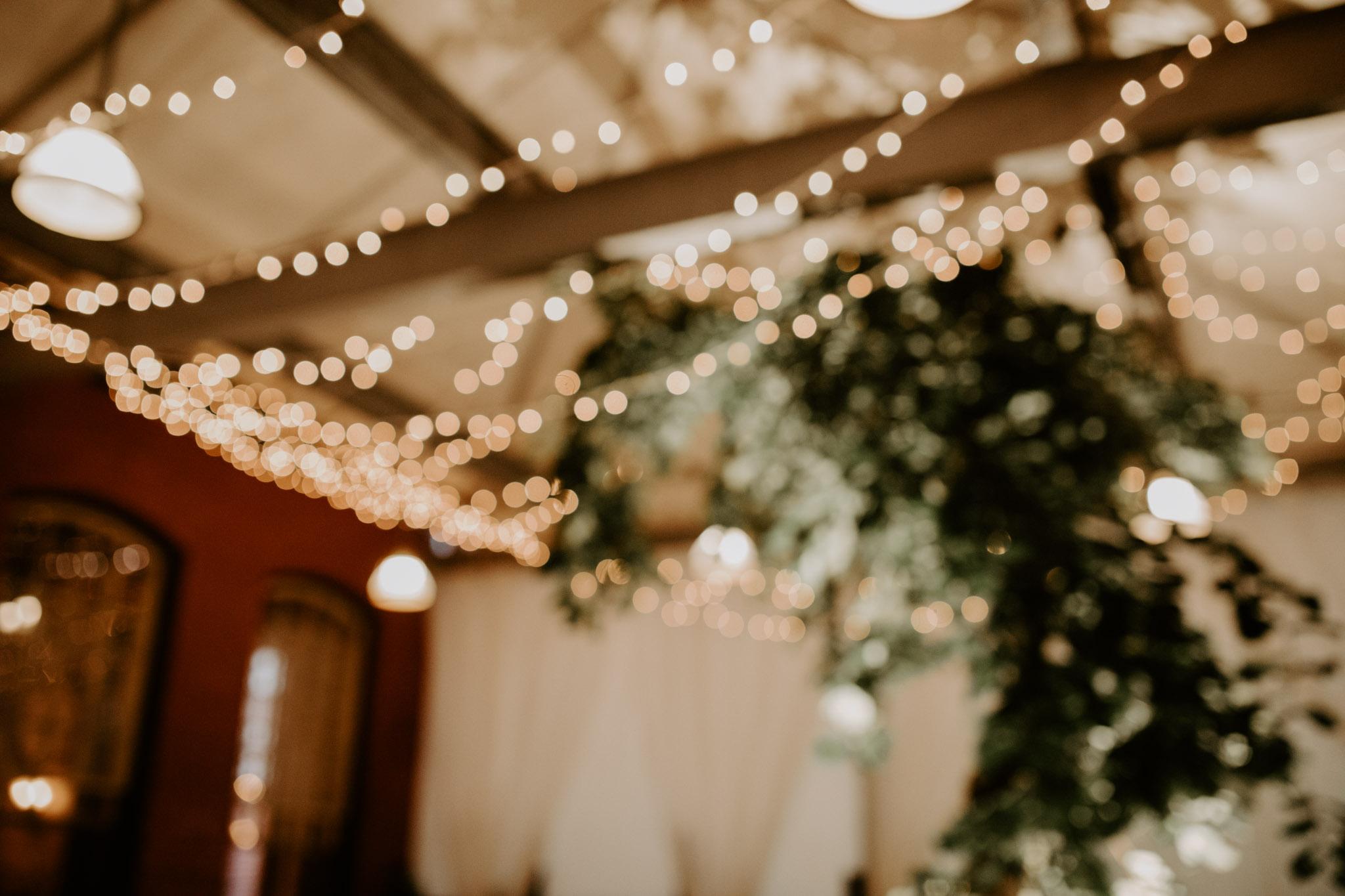 Liberty Village Wedding - string lights in Caffino