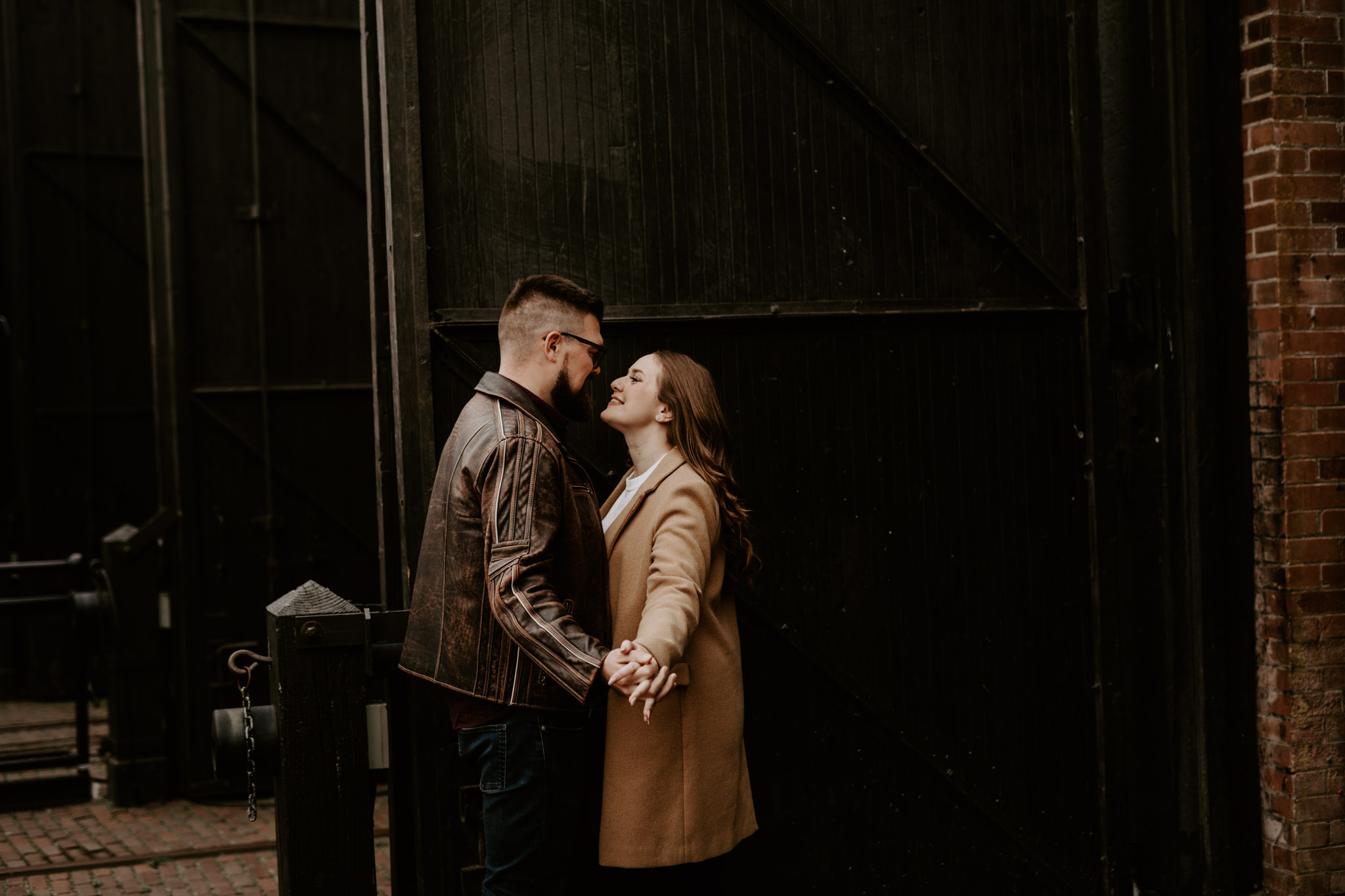 SteamWhistle Brewery Engagement - couple dance outside