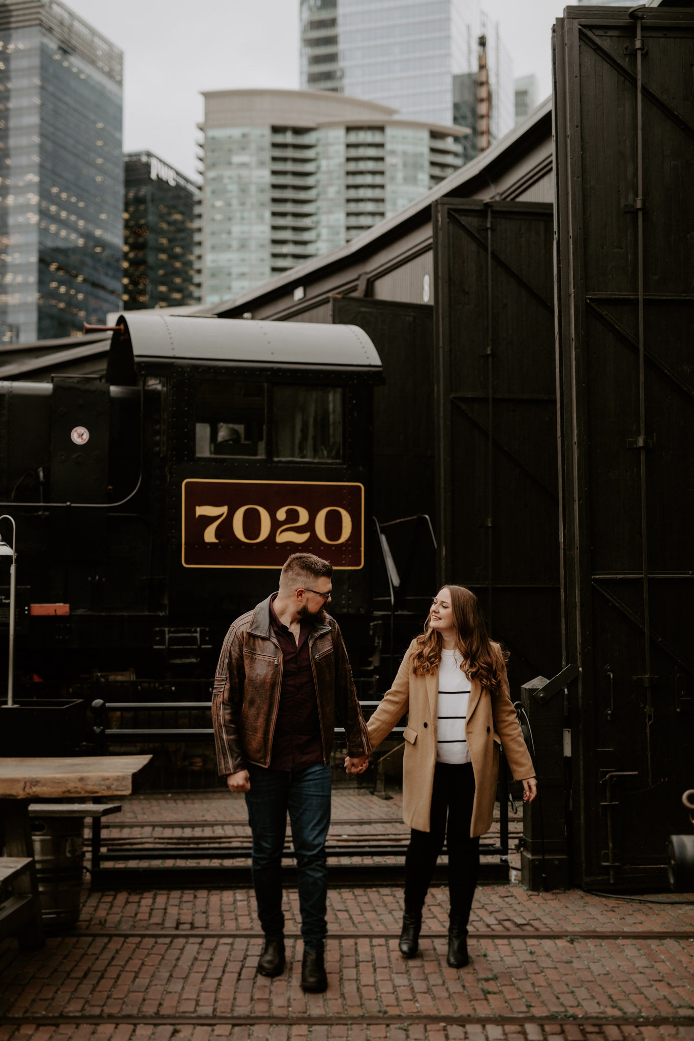 SteamWhistle Brewery Engagement - downtown Toronto engagement session