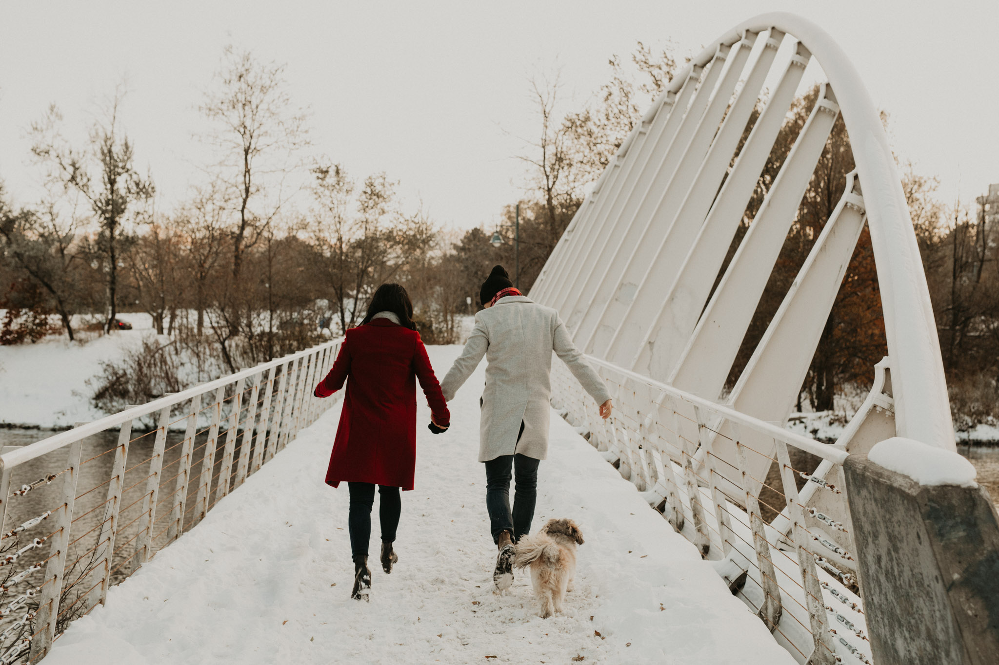 Winter Engagement in Toronto - couple walk dog in the snow across bridge