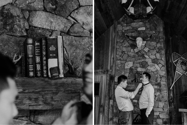Serenity Cottage Wedding - groom prep in stone cottage