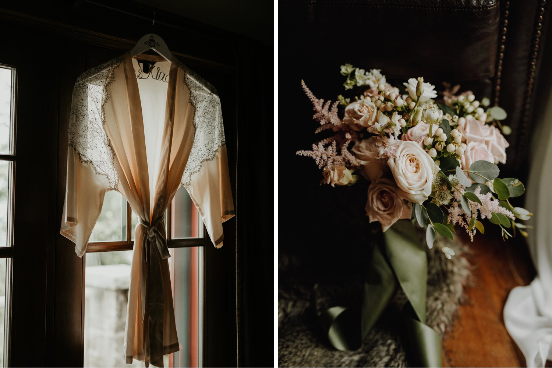 Serenity Cottage Wedding - bridal details - bridal robe and flowers
