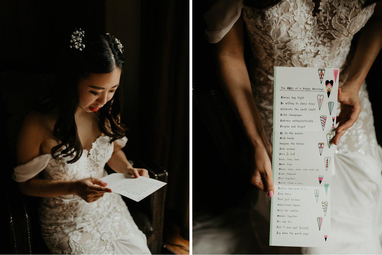 Serenity Cottage Wedding - bride reading letter