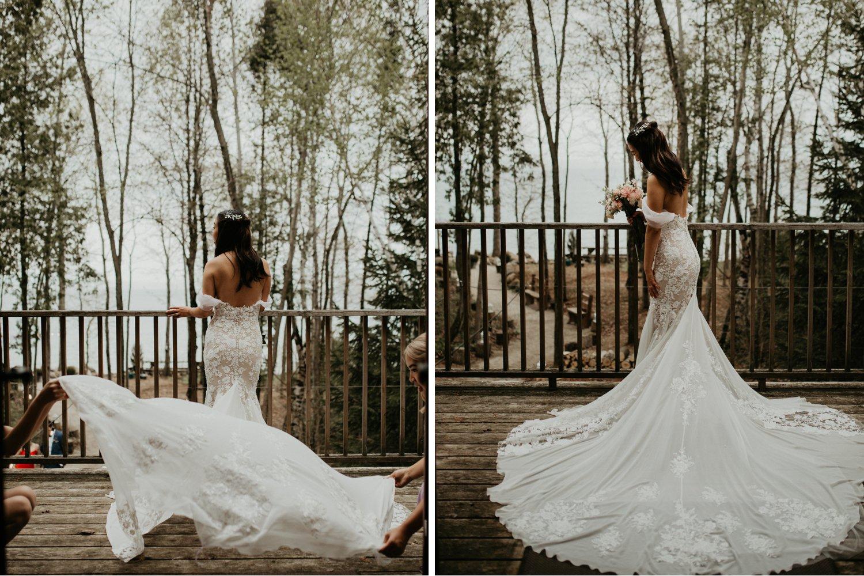 Serenity Cottage Wedding - bride on balcony