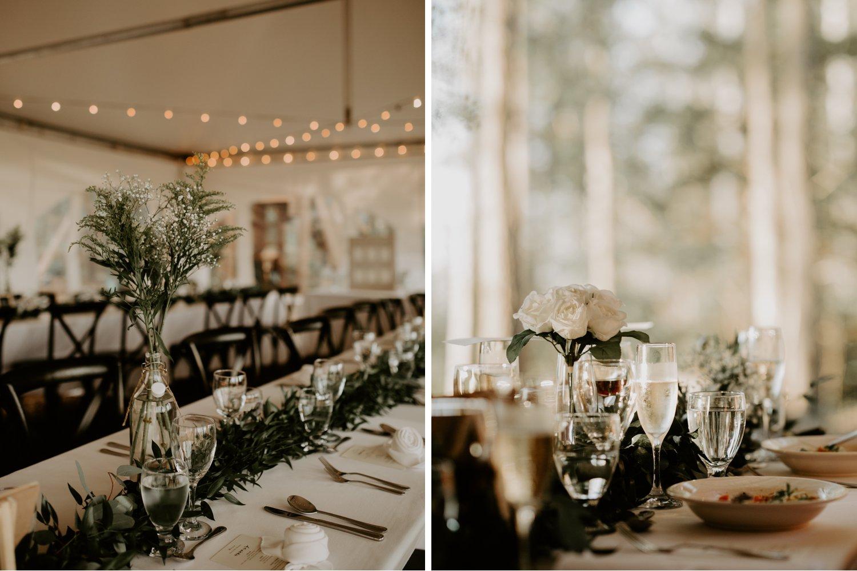 Serenity Cottage Wedding - minimalist reception decor