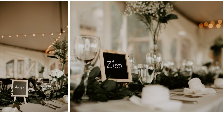 Serenity Cottage Wedding - black white and green reception decor