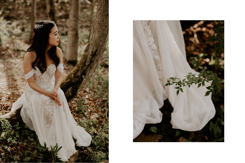 Serenity Cottage Wedding - portrait of bride sitting in forest
