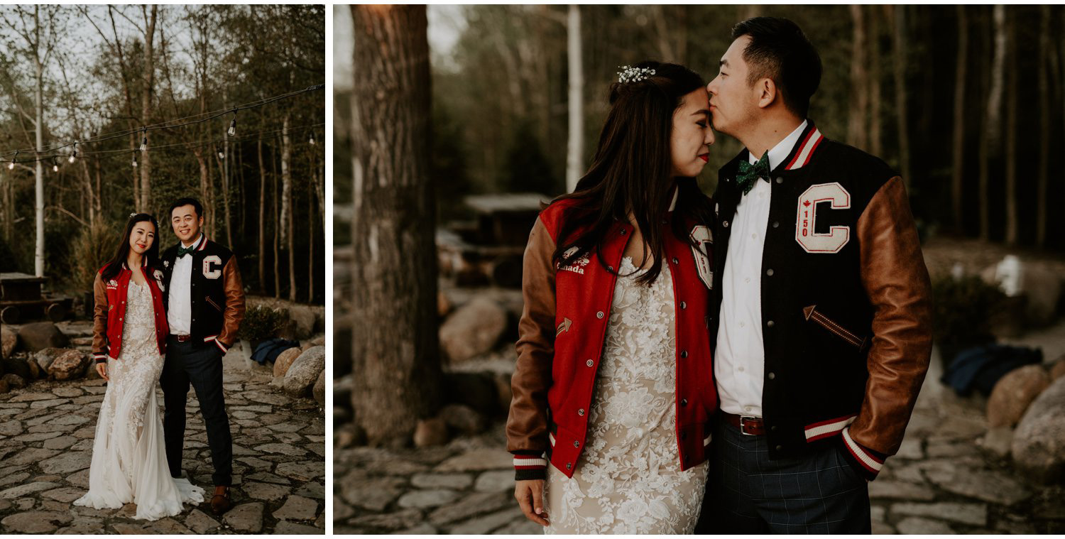 Serenity Cottage Wedding - bride and groom in Letterman jackets