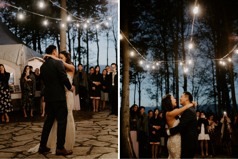 Serenity Cottage Wedding - first dance under string lights in forest near lake