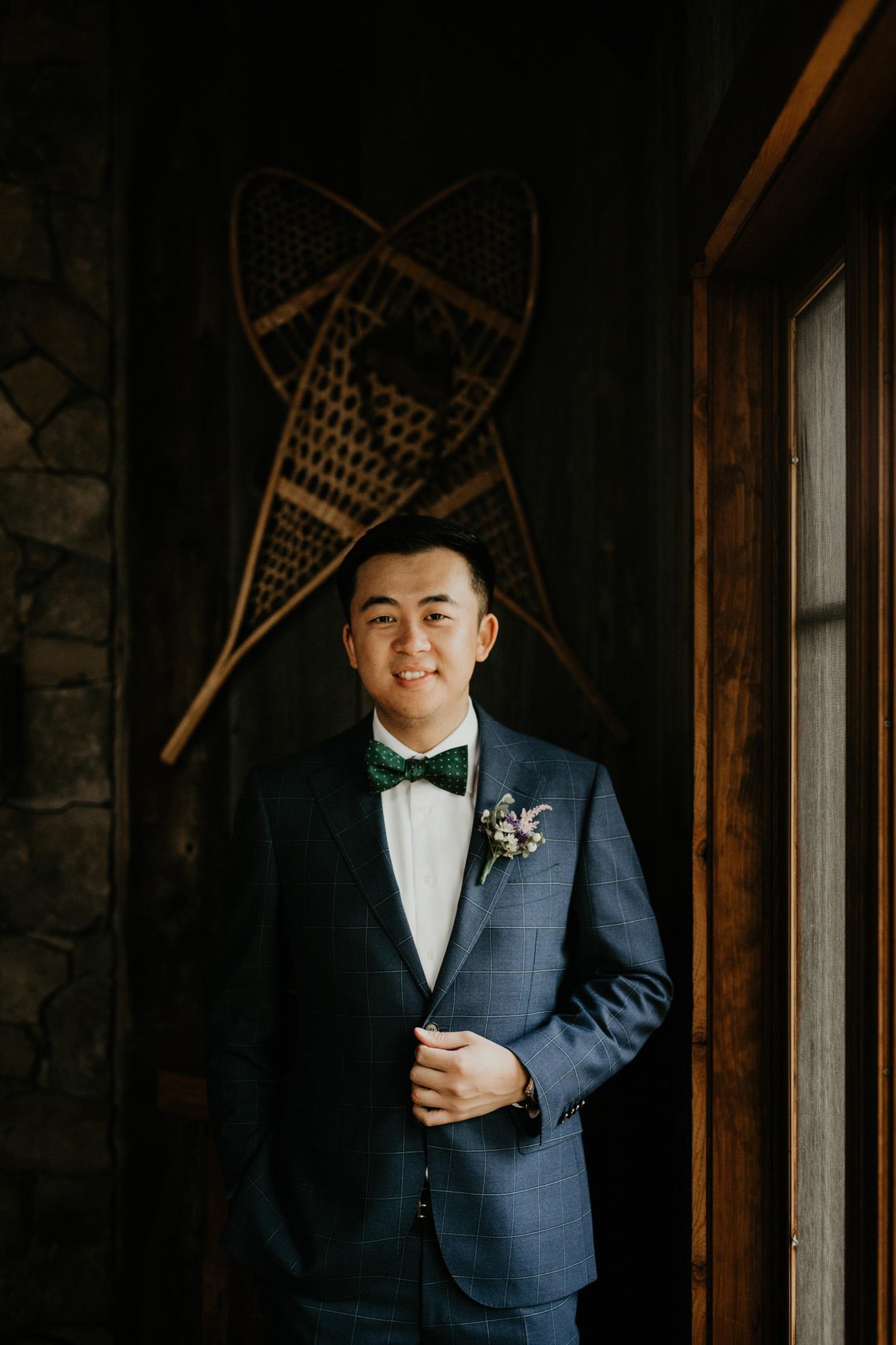 Serenity Cottage Wedding - cottage portrait of groom