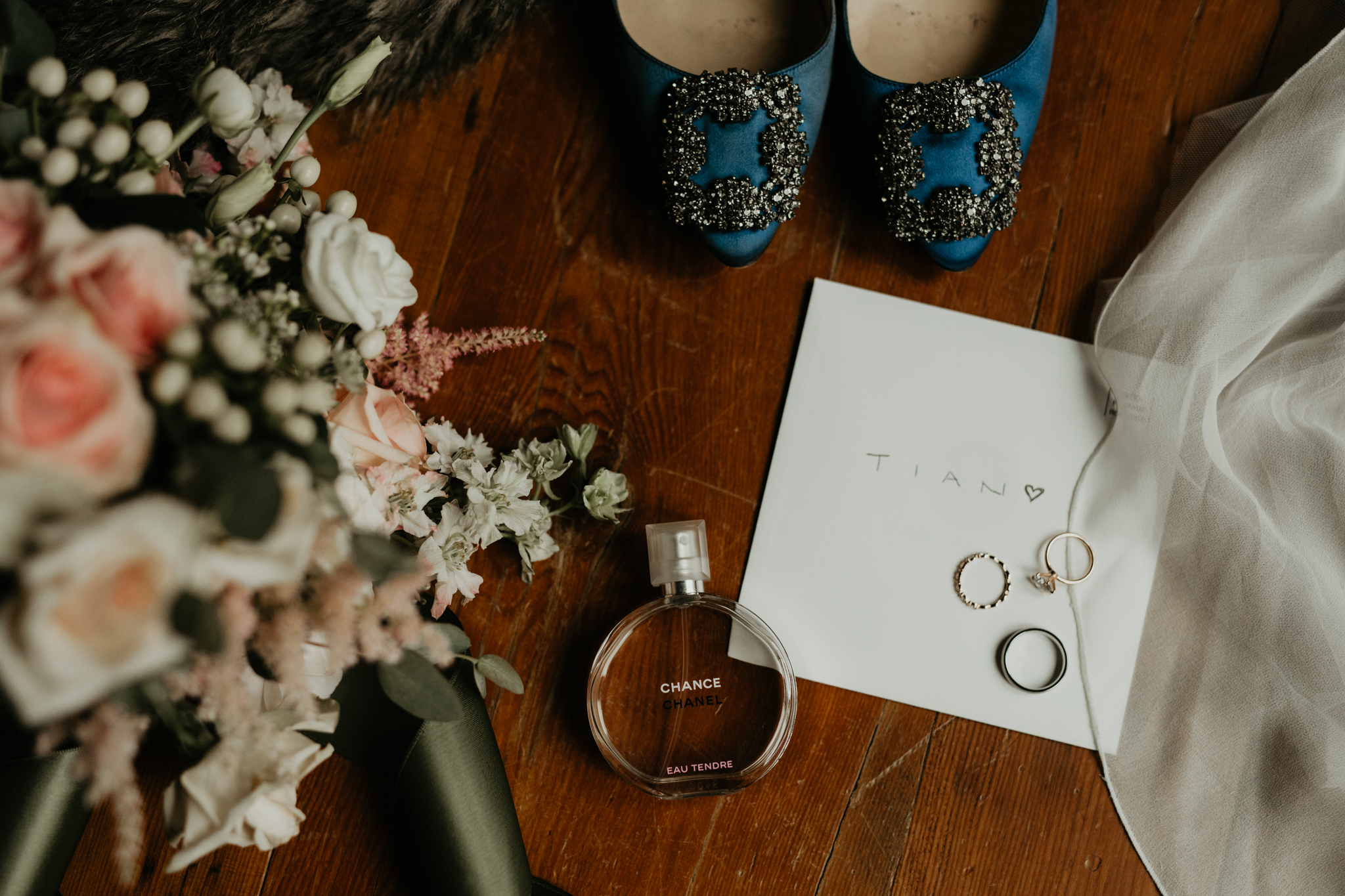 Serenity Cottage Wedding - bridal details - rings, shoes, flowers and perfume