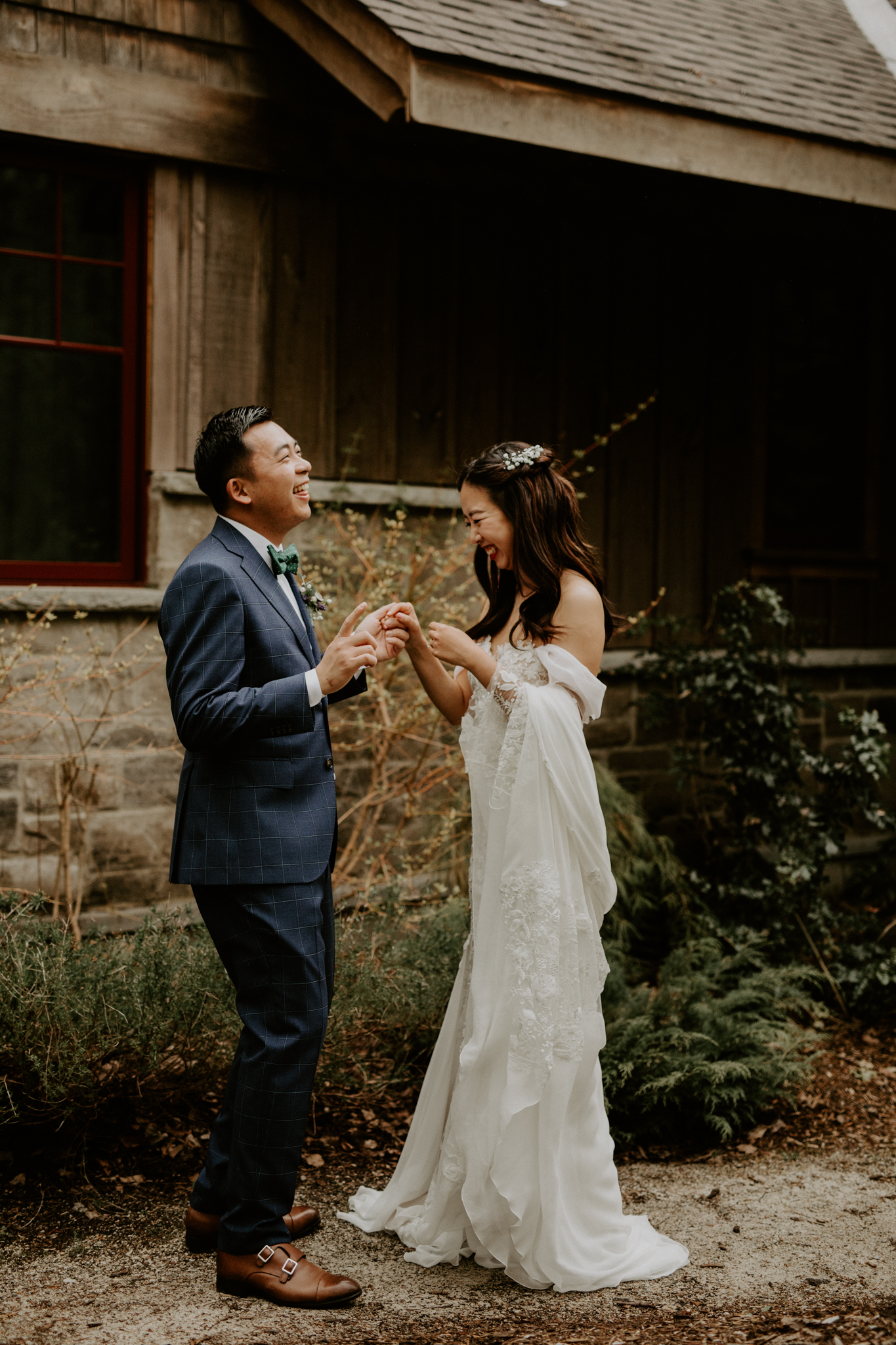 Serenity Cottage Wedding - bride and groom laughing during first look