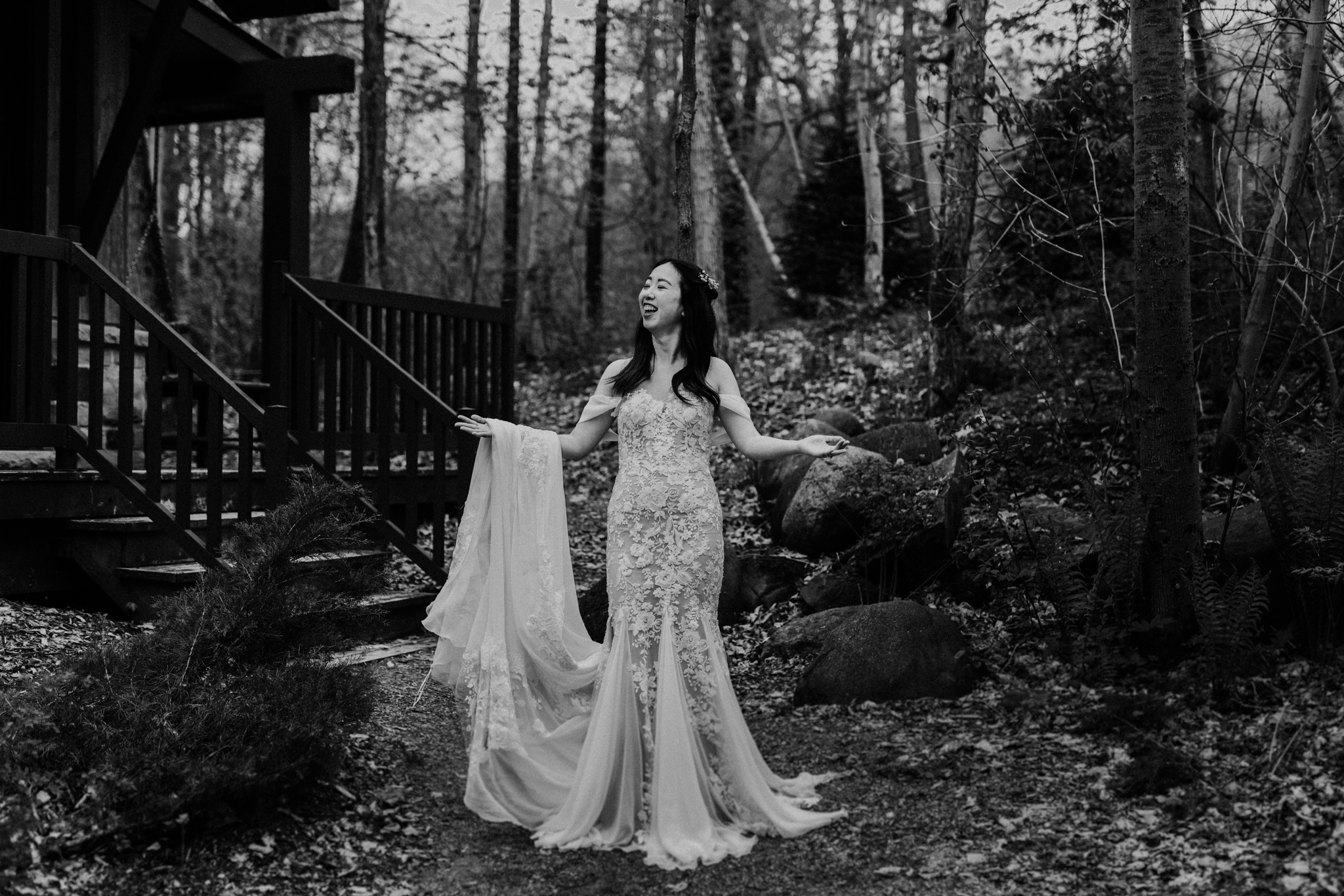 Serenity Cottage Wedding - bride poses in front of cottage